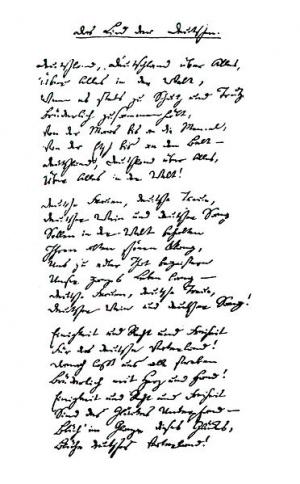 Das Lied der Deutschen, Handschrift von Hoffmann von Fallersleben als Faksimile.