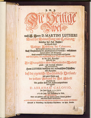 Title page of the Calov Bible with Bach's signature on it. Datum. Between 1612 & 1686. (6)