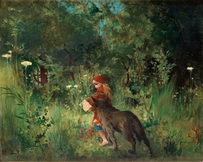 Little Red Riding Hood and the Wolf in the forest von Carl Olof Larsson (1853- 1919)