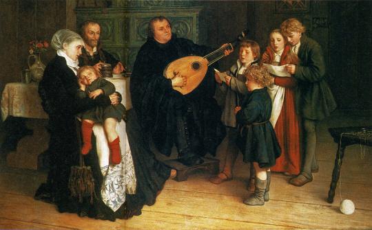 Luther im Kreise seiner Familie musizierend. Gemälde von Gustav Spangenberg (1828-1891)